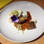 Pork belly cooked in fennel, carraway & apple juice, fried, pickled & puréed cauliflower, pickled cucumbers