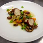 Rabbit loin, confit leg, ceps and seasonal veg