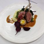 Lamb cutlets Reform, lamb and quail Scotch egg, beets and pomme purée