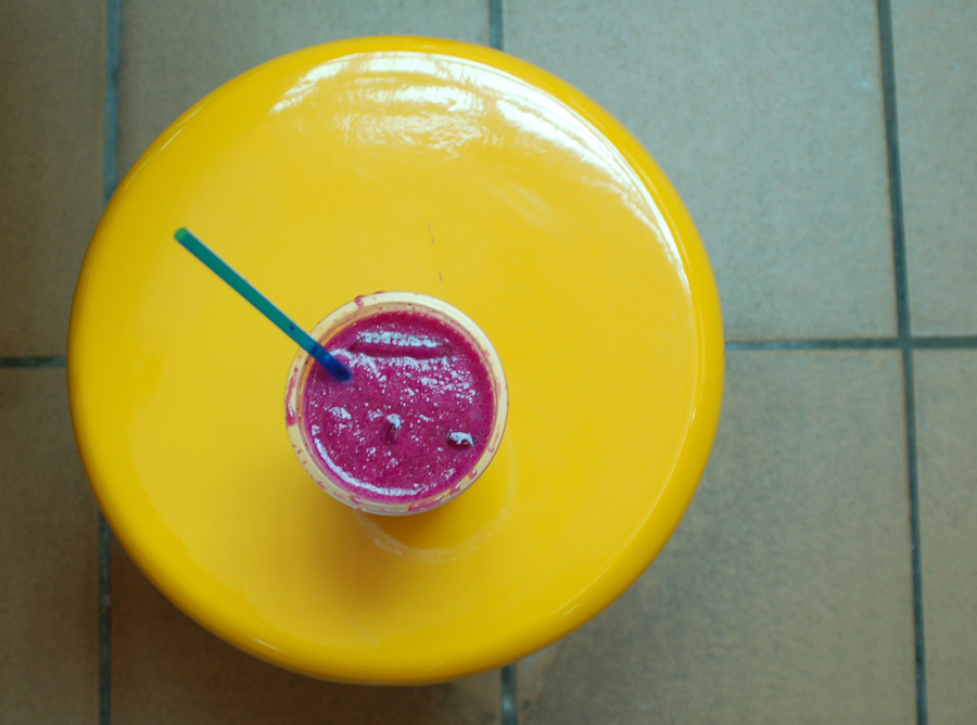 Dragon fruit and orange juice drink at Maxwell Road