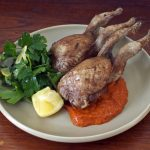 Quail and harissa w parsley, mint and preserved lemon salad