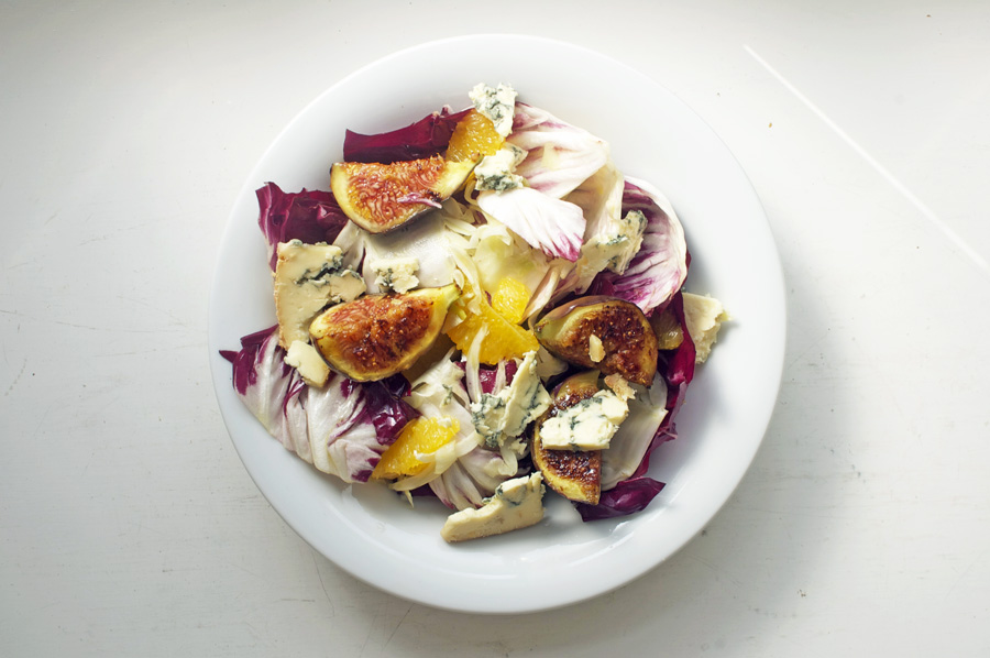 Fig and blue cheese salad top